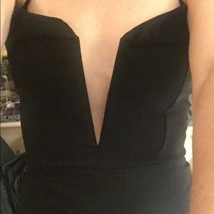 Cute black evening dress with plunging neck line